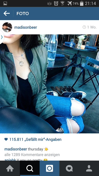 jacket madison beer style jeans jewels