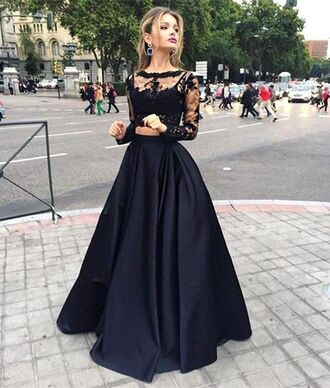 dress prom dress black dress lace dress evening dress long sleeves cropped style fashion black lace elegant crop tops black lace dress black prom dress gown prom two piece ball dress lace ball dresses elegant ball dresses long black dresses