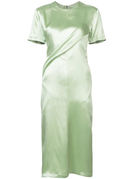 dress women silk green