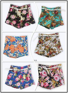 WIN27 Girl 's Flowers Floral Print Shorts High Waist Mini Short Pants Hot A | eBay