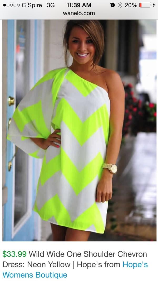 Wild Wide One Shoulder Chevron Dress: Neon Yellow | Hope's on Wanelo