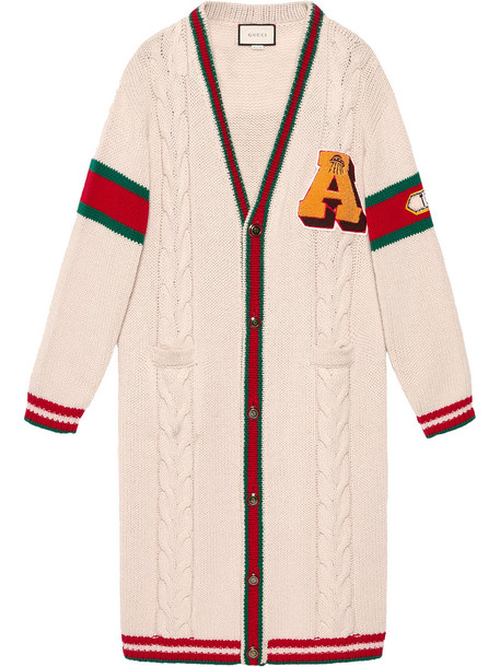 gucci cardigan cable knit cardigan cardigan embroidered women white wool knit sweater