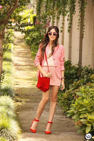 fashion coolture blogger sunglasses red heels mini skirt coral blazer