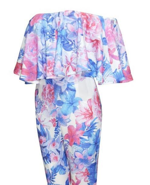 jumpsuit flowered blue mint green, celebrity, miley cyrus, dresses ...