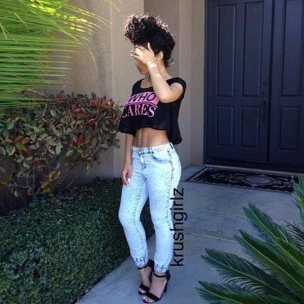 jeans acid wash who cares high heels high waisted jeans shoes shirt krushgirlz