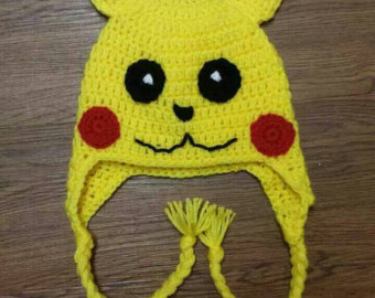 Pikachu pokemon crochet earflap hat