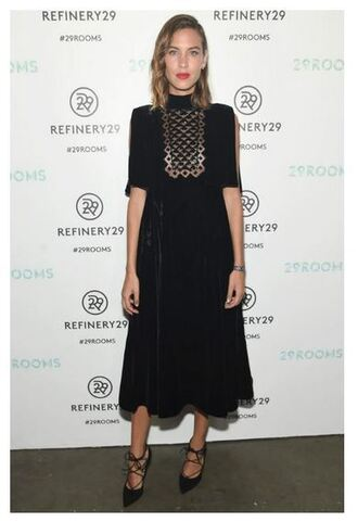 dress midi dress alexa chung pumps black dress fashion week shoes velvet dress