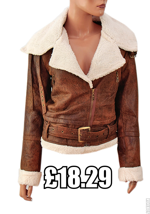 Ladies Womens Flying/Aviator Faux Leather Jacket with Faux Fur ...