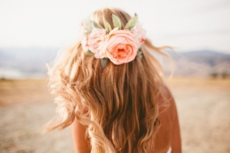 hair accessory flower crown roses hipster wedding beach wedding