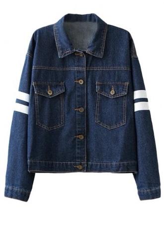 jacket denim jeans stripes blue white button up