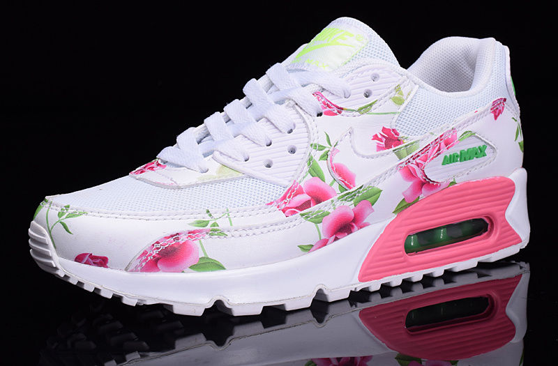 timeless design b681d 21f4c Nike Air Max 90 White Pink Green Flowers Custom Runing Shoes