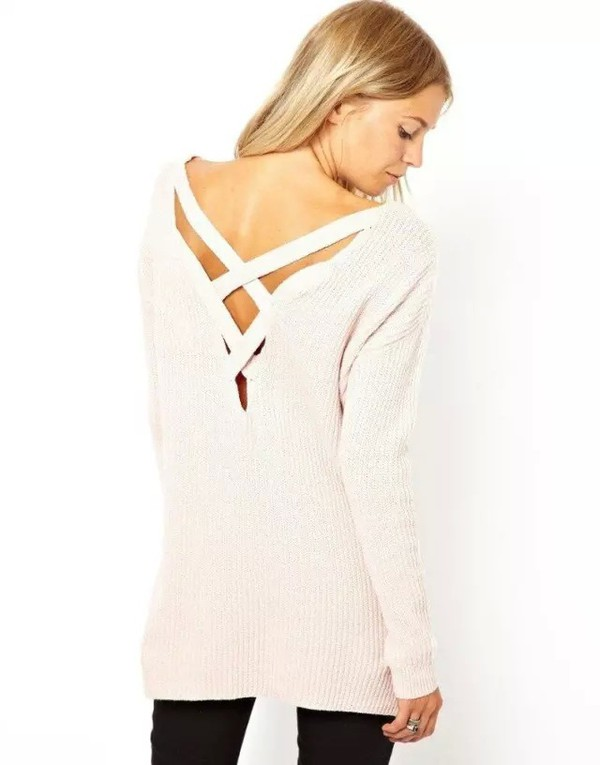 top crossed back cross hollow out pullover hollow hollow out hollow out top hollow out sweater backless cut outfits open back top backless top backless sweater backless pullover long sleeves knitwear winter top winter sweater white sweater white oversized sweater pullover dress casual sweater preppy scool women sexy girly cute lovely jeans sweater leggings top blouse cardigan 28719 sweater asos musthave