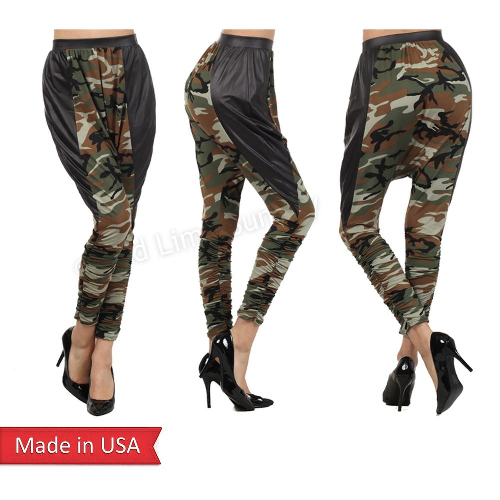 Camo Camouflage Army Green Drop Crotch Black Faux Leather Harem Genie Pants USA