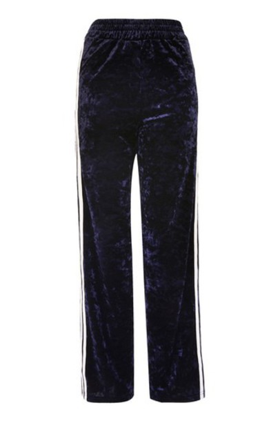 pants track pants navy blue velvet