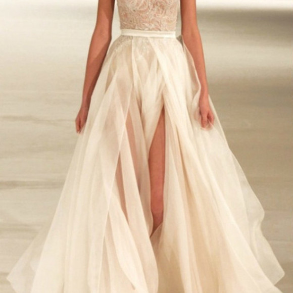white dress ivory beautiful slit flow gorgoues