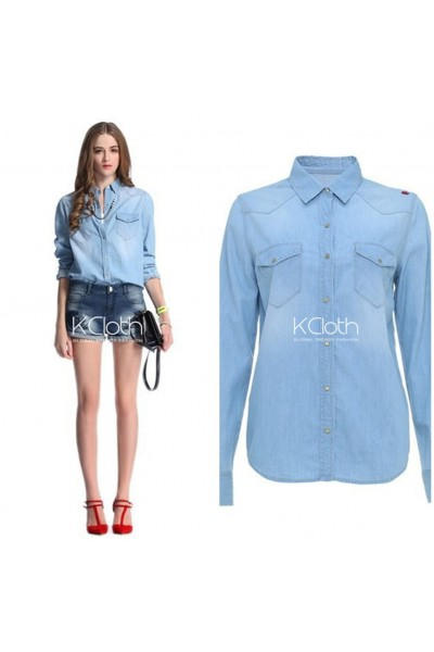 KCLOTH Classis Denim Shirt with Pockets T1634