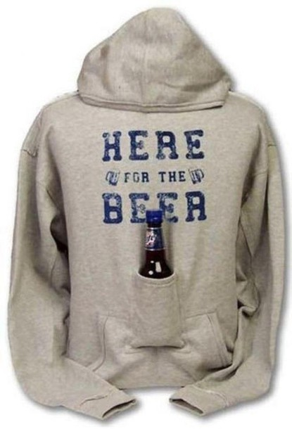 sweater beer hoodie funny cupholder grey funny sweater jacket sweatshirt