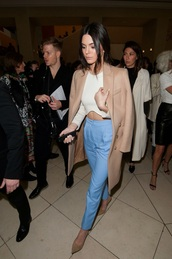 top,cropped,crop tops,white top,coat,heels,blue,camel,brown,white crop tops,long sleeves,long sleeve crop top,crop,white,kendall jenner,winter coat,long coat,camel coat,wool coat,pants,beige,white shirt,nude heels,high waisted,curved hemline,pointed toe pumps