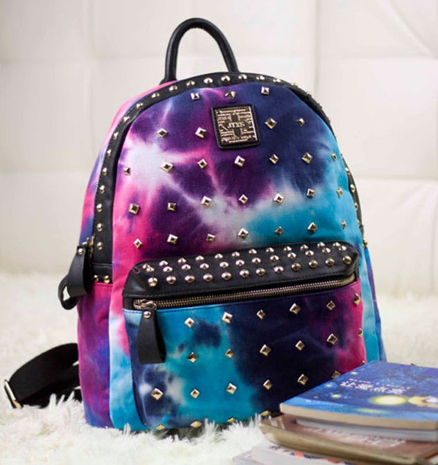 Punk Canvas Galaxy Spike Stud Rivet Backpack Tote Travel Student Book School Bag