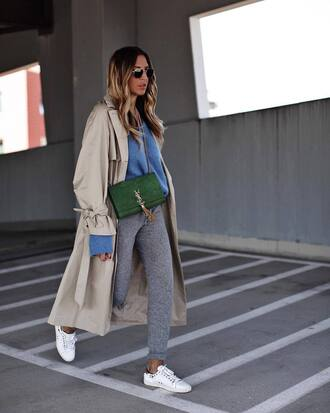 sweater grey pants tumblr blue sweater pants knitted pants sneakers white sneakers low top sneakers coat trench coat bag green bag
