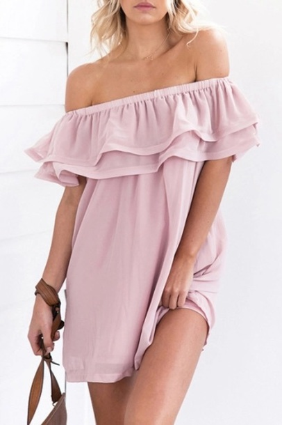 dress girly pink pink dress off the shoulder off the shoulder dress cute