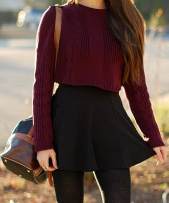 sweater knit cropped burgundy fall style top skirt