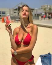 bikini top,red bikini top,swimwear