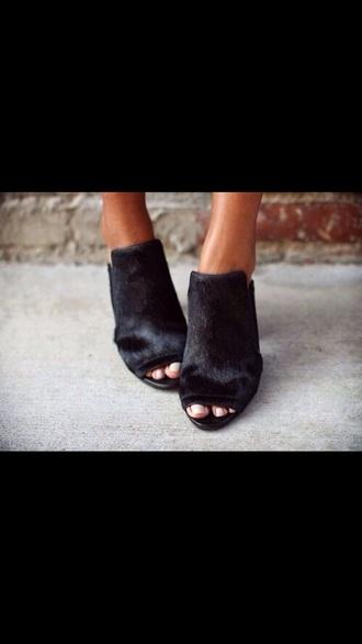 shoes black heels furry open toes