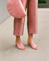 shoes,mules,pink,dusty pink,pink bag,all pink everything,cropped pants,mansur gavriel,suede mule,pink shoes,pants,pink pants,bag