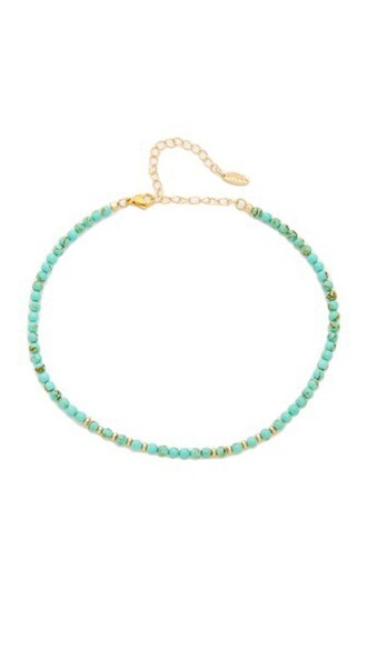 necklace choker necklace gold turquoise jewels