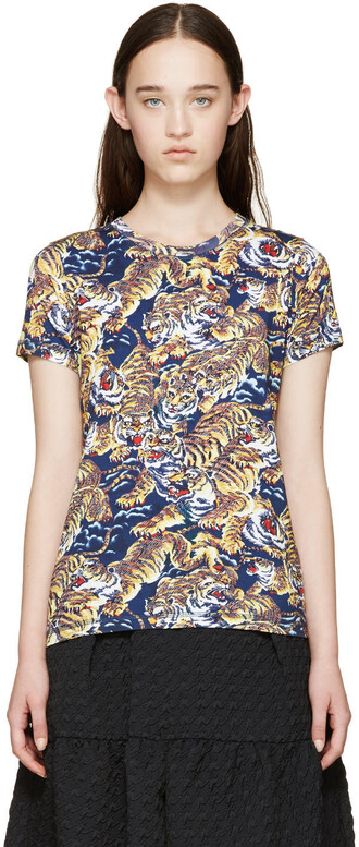 t-shirt shirt tiger navy top