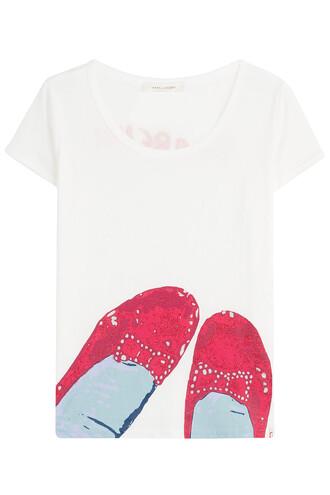 t-shirt shirt cotton t-shirt cotton red white top