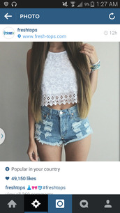 white crop tops,denim shorts,cute shorts,white lace top,lace crop top,top,lacy crop top,white,shirt,lace,cut-out,blouse,t-shirt,tank top,halter neck,halter top,flowers,pretty,white top,crop tops,lace top,floral tank top,floral shirt,floral t shirt,floral,shorts,High waisted shorts,jeans,spring,style,white shirt,crochet