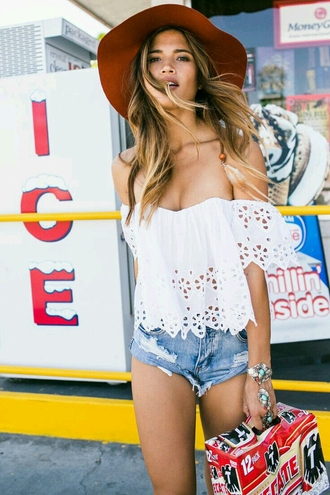 blouse summer outfits white off the shoulder boho hippie festival coachella