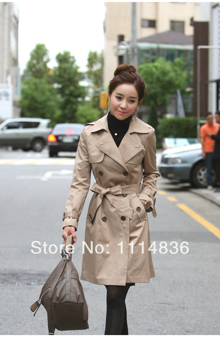 Free shipping new spring 2014 autumn overcoat women medium long sashes trenchcoat slim women casual dress