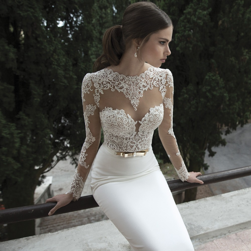 wedding dress no train Elegant Long Sleeves Backless Mermaid Wedding Dress Without Train Lace Wedding Bridal Gown B in Wedding Dresses