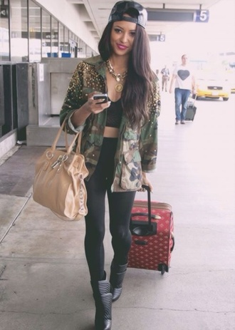 coat jacket kat graham tumblr instagram fvkin katerina graham army green jacket army green jacket green bag gold hat jewels jeans denim fashion necklace lion shoes militaire the vampire diaries bonny love beautiful militaire like cool. hott military pearl long airport actress