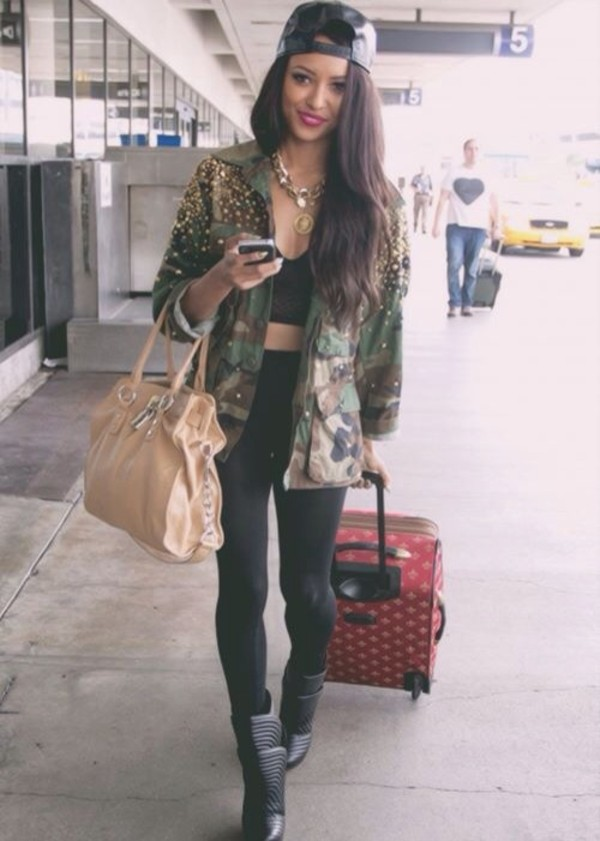 coat pants jacket kat graham tumblr instagram fvkin katerina graham army green jacket army green jacket green bag gold hat jewels jeans denim fashion necklace lion shoes militaire the vampire diaries bonny love beautiful militaire like cool. hott military style pearl long airport actress
