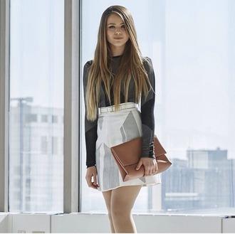 dress grey shirt white skirt fashion