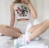 blouse,powerpuff,white,crop tops,shorts,shirt,joanna kutcha,white crop tops,the powerpuff girls,graphic tee,top,super nana,white shorts,sneakers,nike,white shoes,shoes,cute,girly,t-shirt,socks,sleeveless,sleeveless top,white t-shirt,white top,joanna kuchta