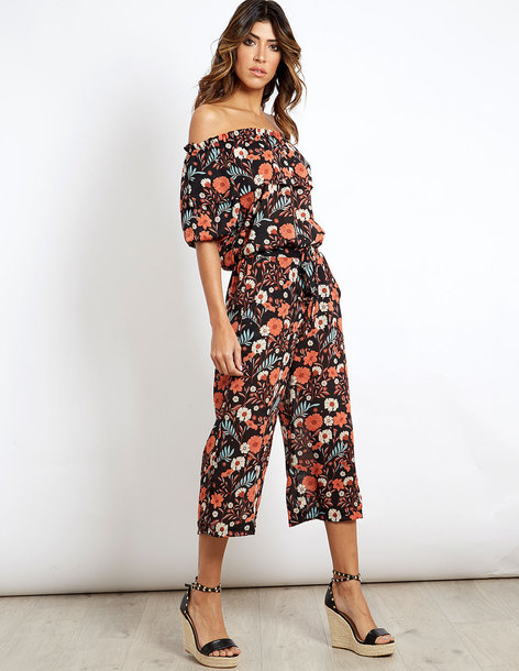 pants blue vanilla floral top culottes matching set two-piece capri pants  high waisted summer ab51e839a