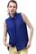 Metal point lapel blue chiffon shirt, the latest street fashion