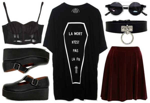 t-shirt clothes t-shirt glasses boots goth tank top skirt