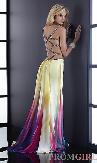 Unique Long Print Prom Dresses, Sexy Jasz Evening Gowns- PromGirl
