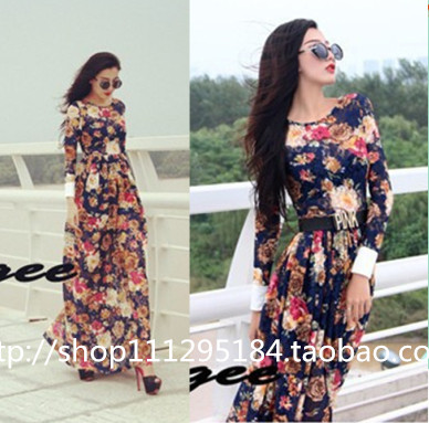 2014 Plus size maxi dresses new fashion summer spring women long sleeve floor-length slim flower printed vintage casual dress | Amazing Shoes UK