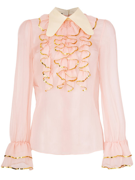 gucci blouse sheer ruffle women silk purple pink top