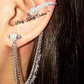 jewels,body kandy couture,ear cuff,ear chain,chain earring,ear wrap,ear climber,ear crawler,silver chain earrings,rivets,piercing,cartilage earring,cartilage cuff,body chain,Gothic Jewelry,unique earrings,bling,silver ear cuff,earrings,gypsy style,chic,boho jewelry,trending jewelry,earrings of the day,unique style,celebrity style