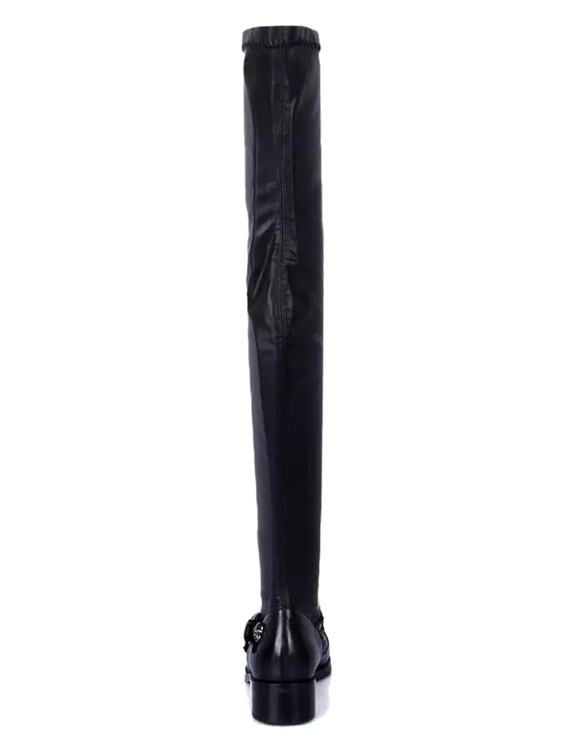Elastic Over the Knee Boots with Strap and Skull Studs Details - Choies.com