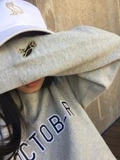 sweater,ovoxo,drake,grey sweater,sweatshirt,grey,crewneck,owl,jacket,tumblr