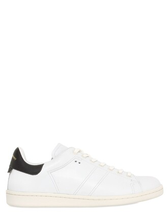 sneakers leather white black shoes